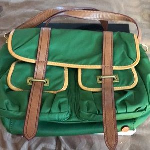 MZ Wallace green leather trimmed vintage bag
